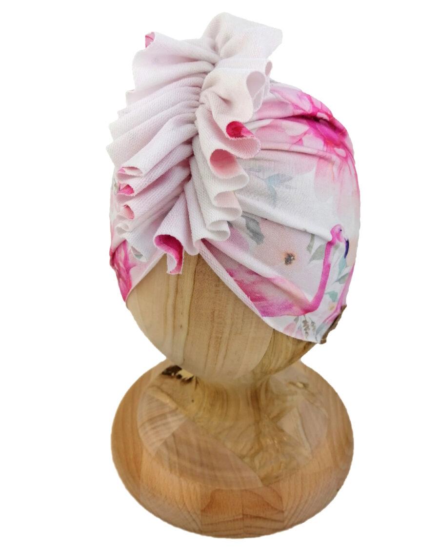 Czapka turban dziecięca marki Gracja styl. Wzór flaming. Produkt polski wykonany z bawełny pętelkowej typu dresówka.