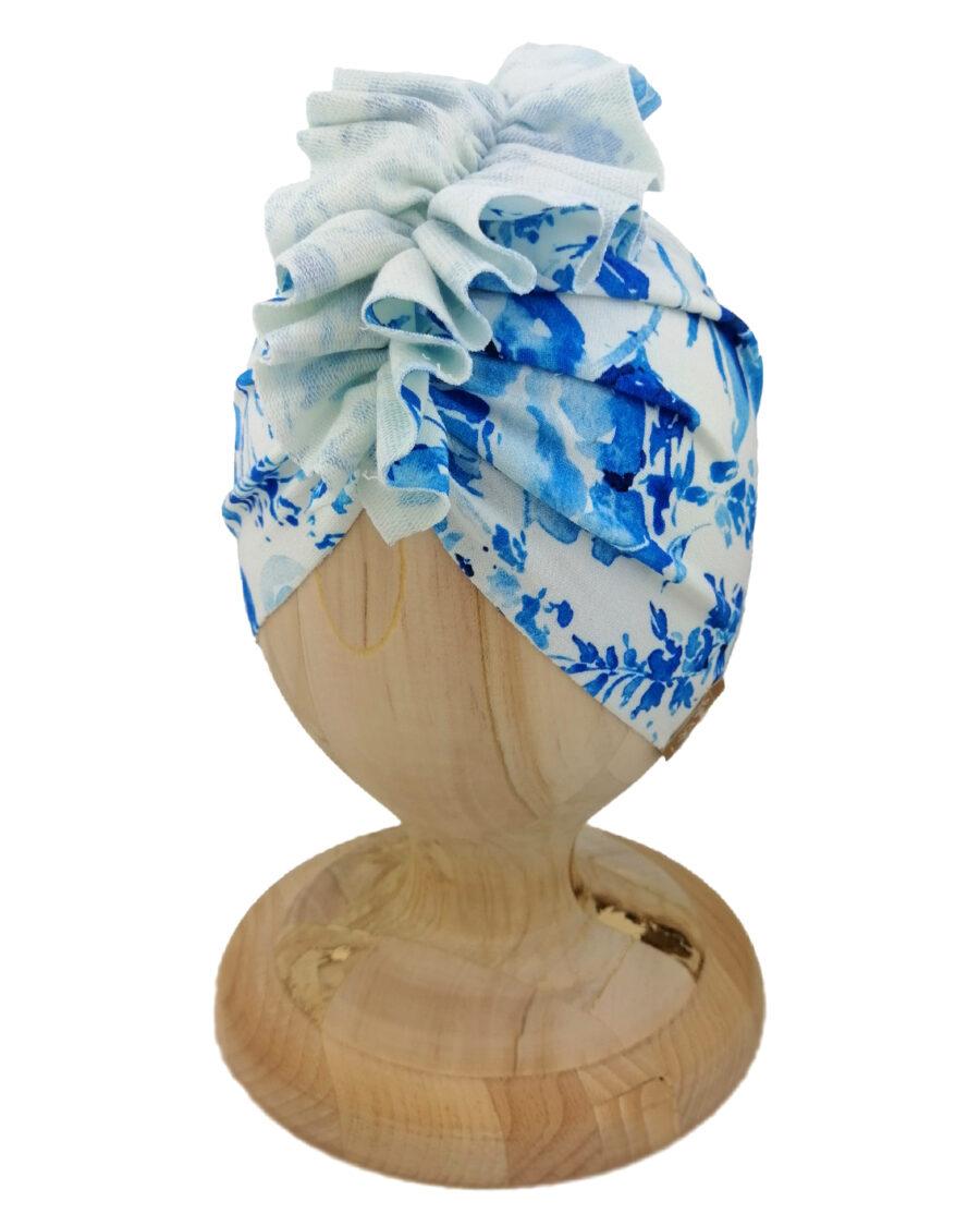 Czapka turban dziecięca marki Gracja styl. Wzór blue garden. Produkt polski wykonany z bawełny pętelkowej typu dresówka.