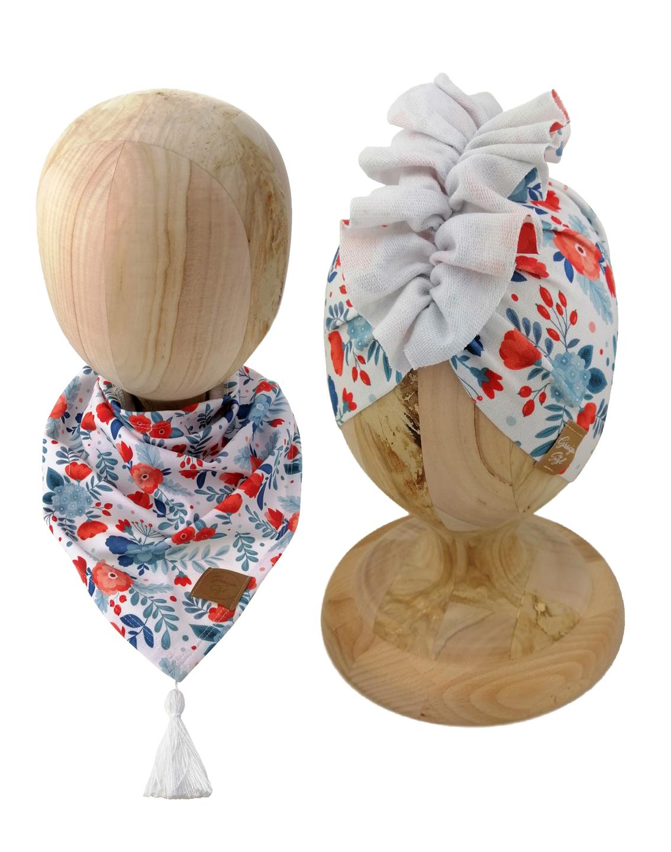 Zestaw czapka turban z chustą. Uszyty z pojedynczej miłej w dotyku dresówki. Marka Gracja Styl. Wzór maki
