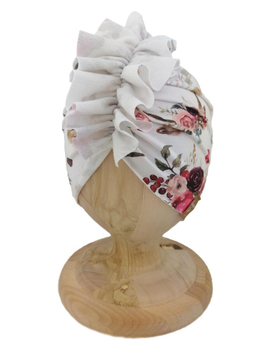 Czapka turban dziecięca marki Gracja styl. Wzór łapacze snów. Produkt polski wykonany z bawełny pętelkowej typu dresówka.