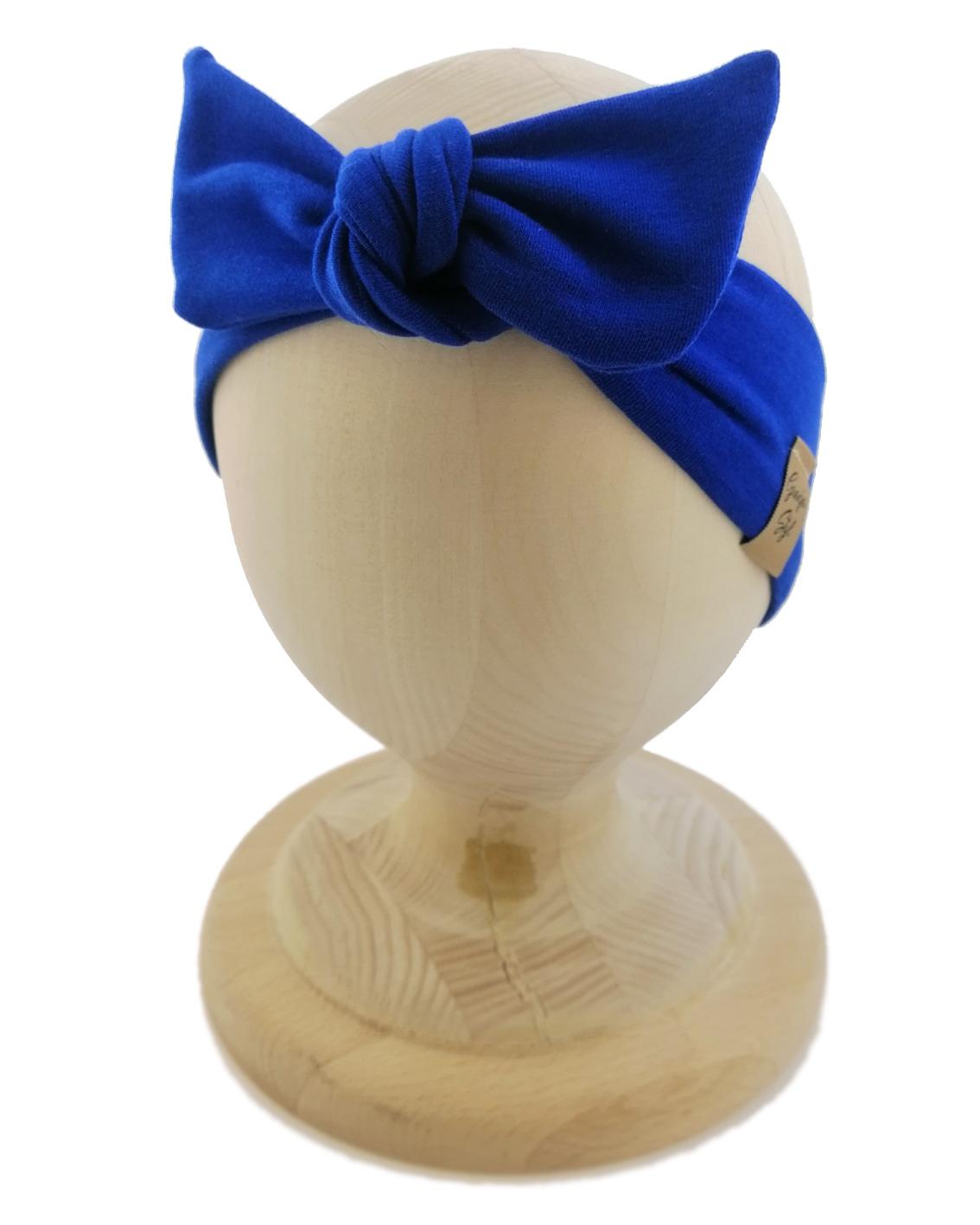 Opaska kobieca typu Pin-up marki Gracja Styl. Uszyta z bawełny petelkowej typu dresówka. Kolor chabrowy.