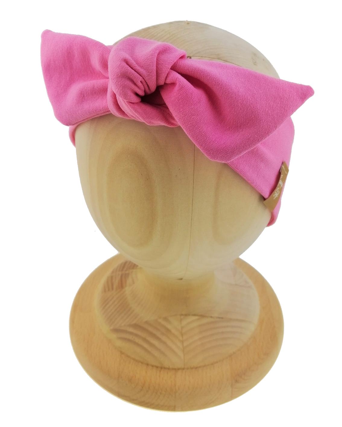 Opaska kobieca typu Pin-up marki Gracja Styl. Uszyta z bawełny petelkowej typu dresówka. Kolor różowy.
