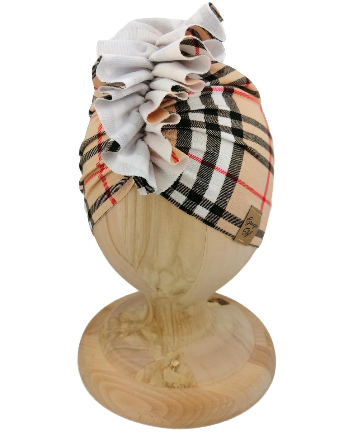 Czapka turban dziecięca marki Gracja styl. Wzór pepitka odcieniu brązu. Produkt polski wykonany z bawełny pętelkowej