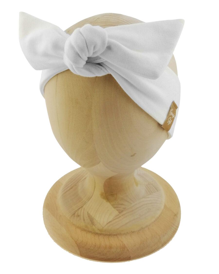 Opaska kobieca typu Pin-up marki Gracja Styl. Uszyta z bawełny petelkowej typu dresówka. Kolor biały odcień zimna biel.