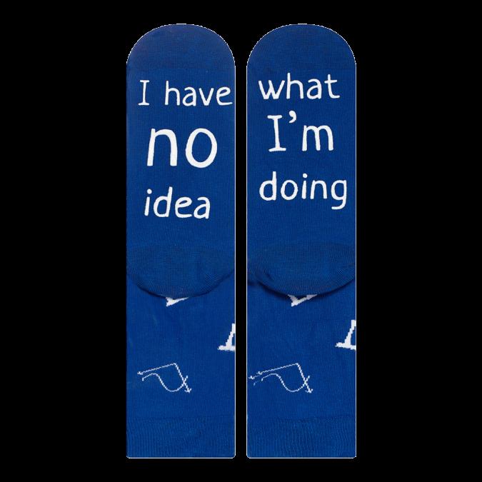 skarpetki męskie soxo z śmiesznymi napisami. Kolor niebieski.