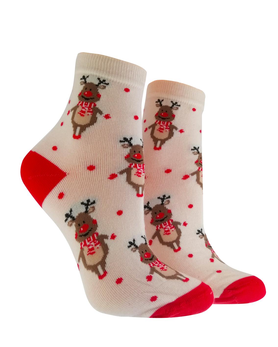 Skarpetki dziecięce marki milena linia avangard na Święta Bożego Narodzenia. Wzór renifer