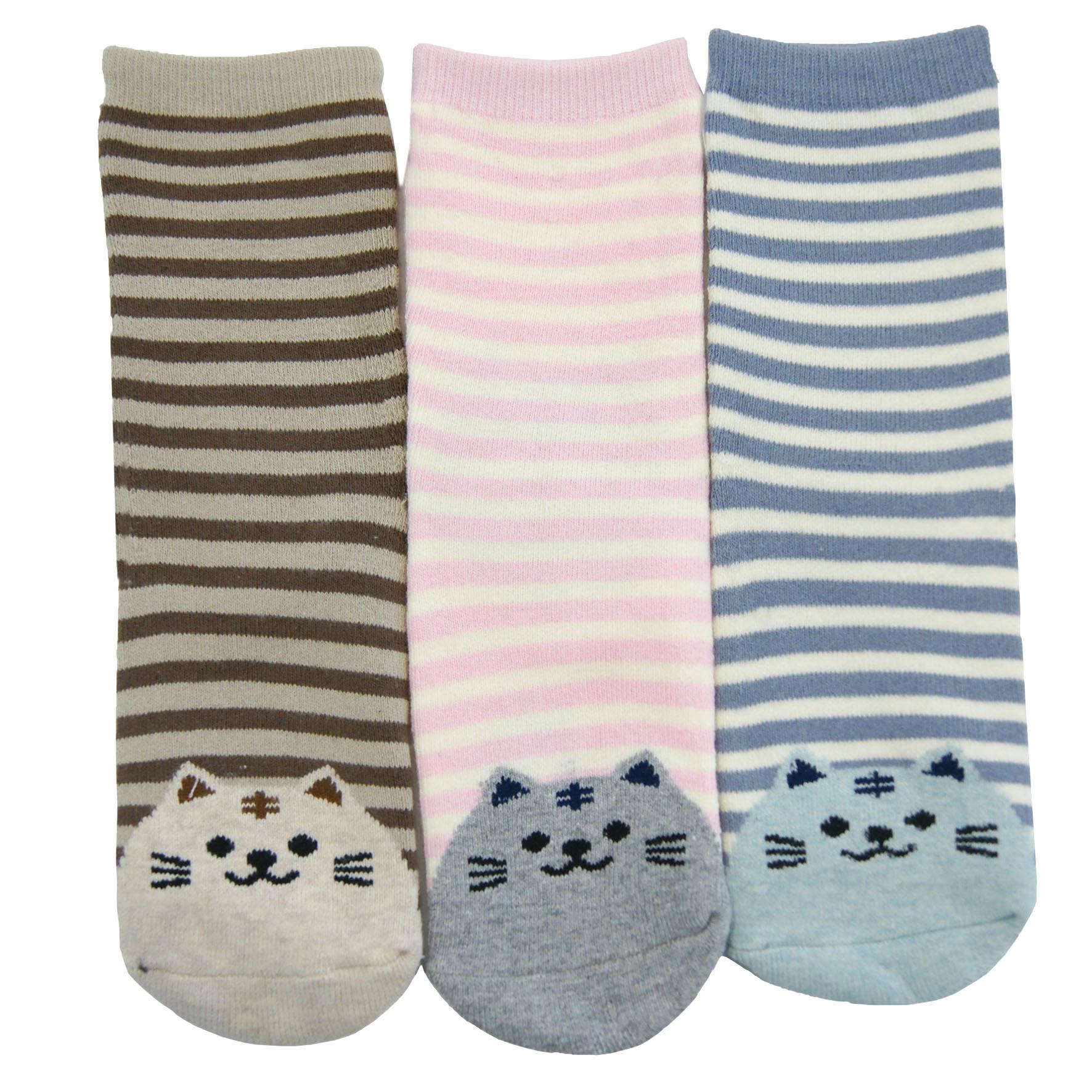 3 pak skarpet dziecięcych marki Moraj w stonwanych kolorach, palce wzór kotek