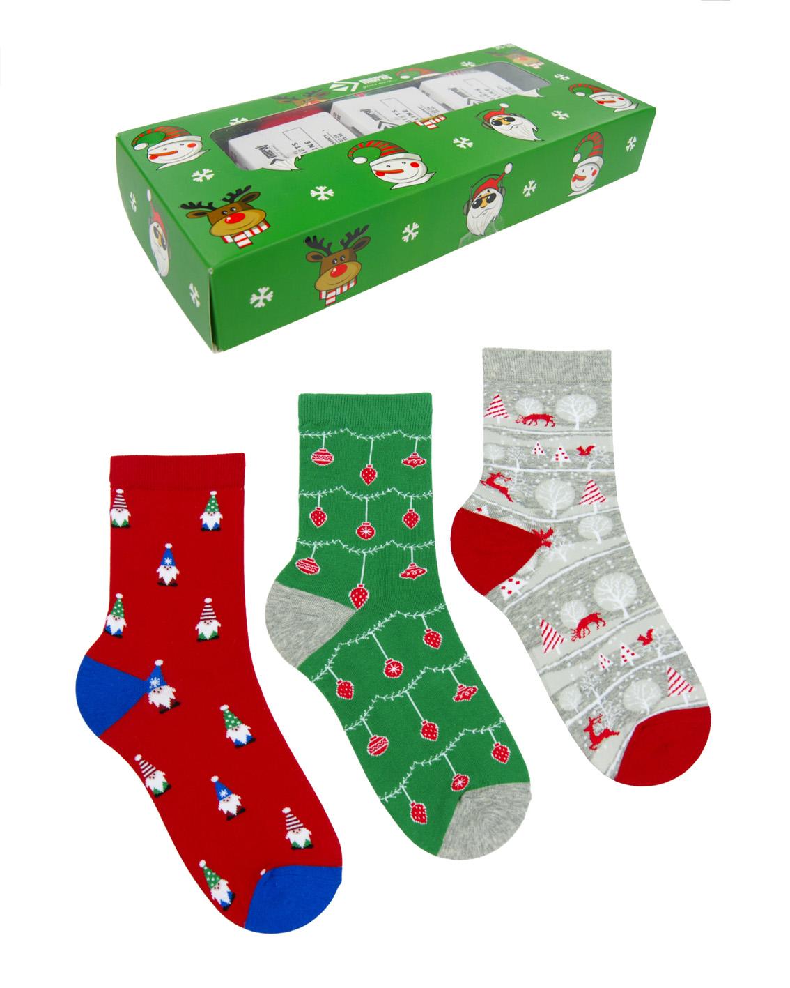 Zestaw skarpet kobiecych świątecznych Moraj w ozdobnym pudełeczku.