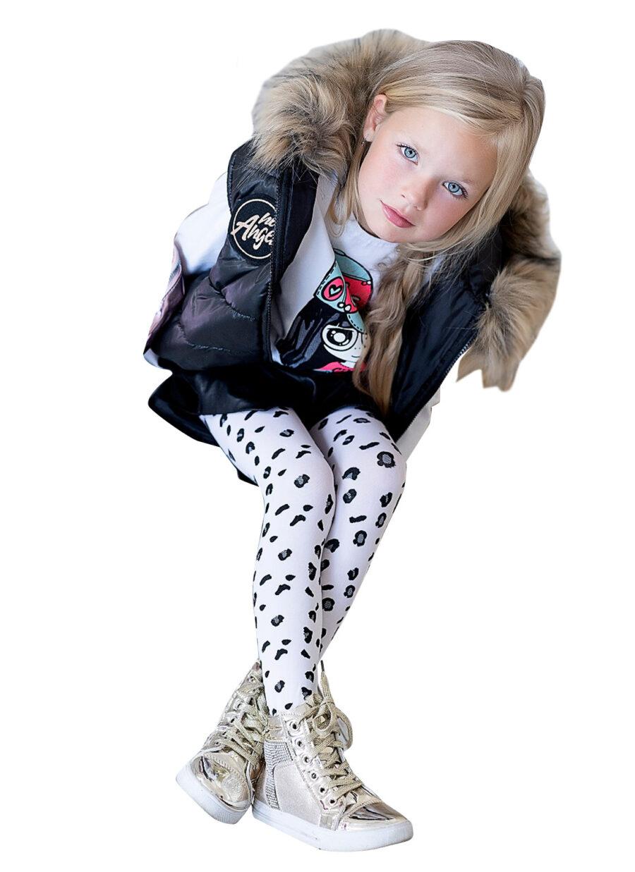 Rajstopy dziecięce marki KNITTEX wzór Sierra. Rajstopy z motywem panterki w jasnej oraz cieknej kolorystyce