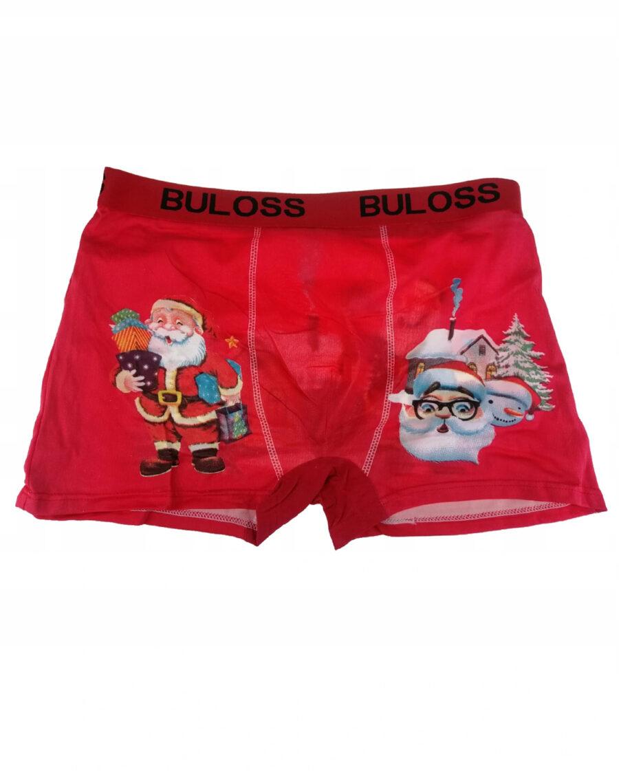 Bawełniane bokserki męskie na prezent wzór świąteczny Bożo Narodzeniowy. Kolor czerwony.