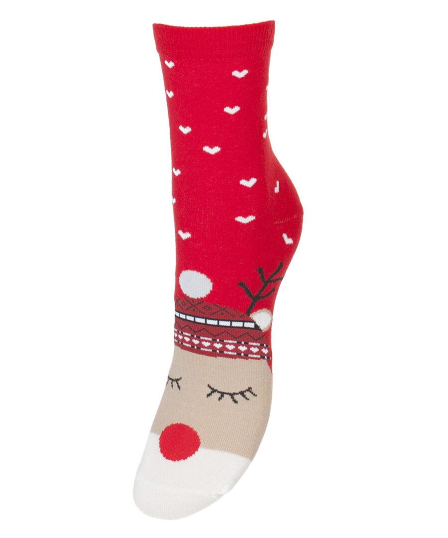Kolorowe Świąteczne skarpetki damskie marki Milena model wzorzyste. Wzór renifer na Święta bożego narodzenia. Kolor czerwony.