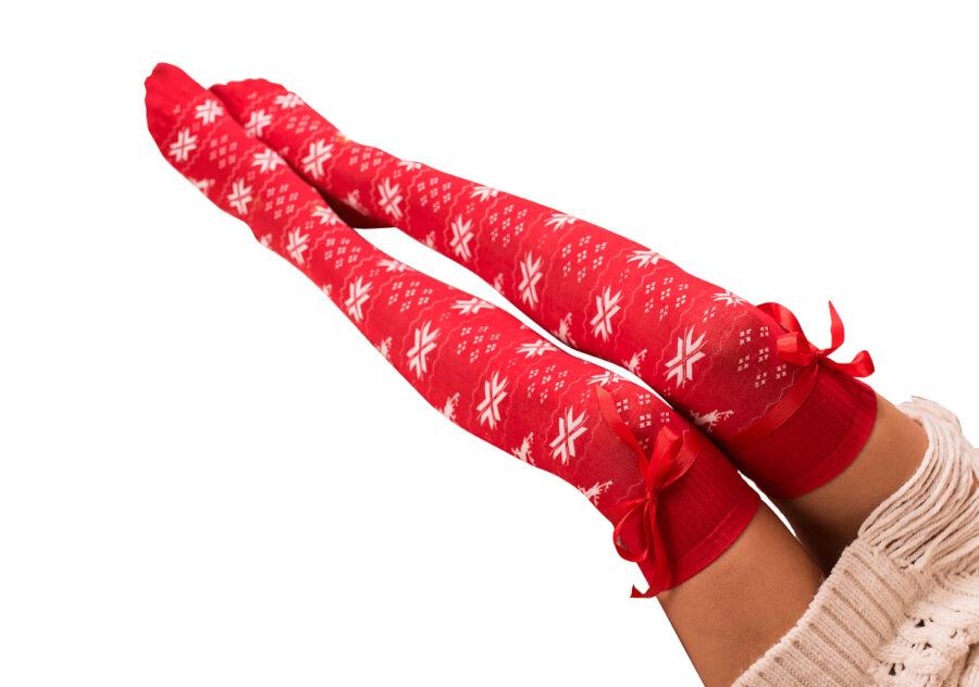 zakolanówki damskie świątreczne z wiązaną kokardką. kolor czerwony.