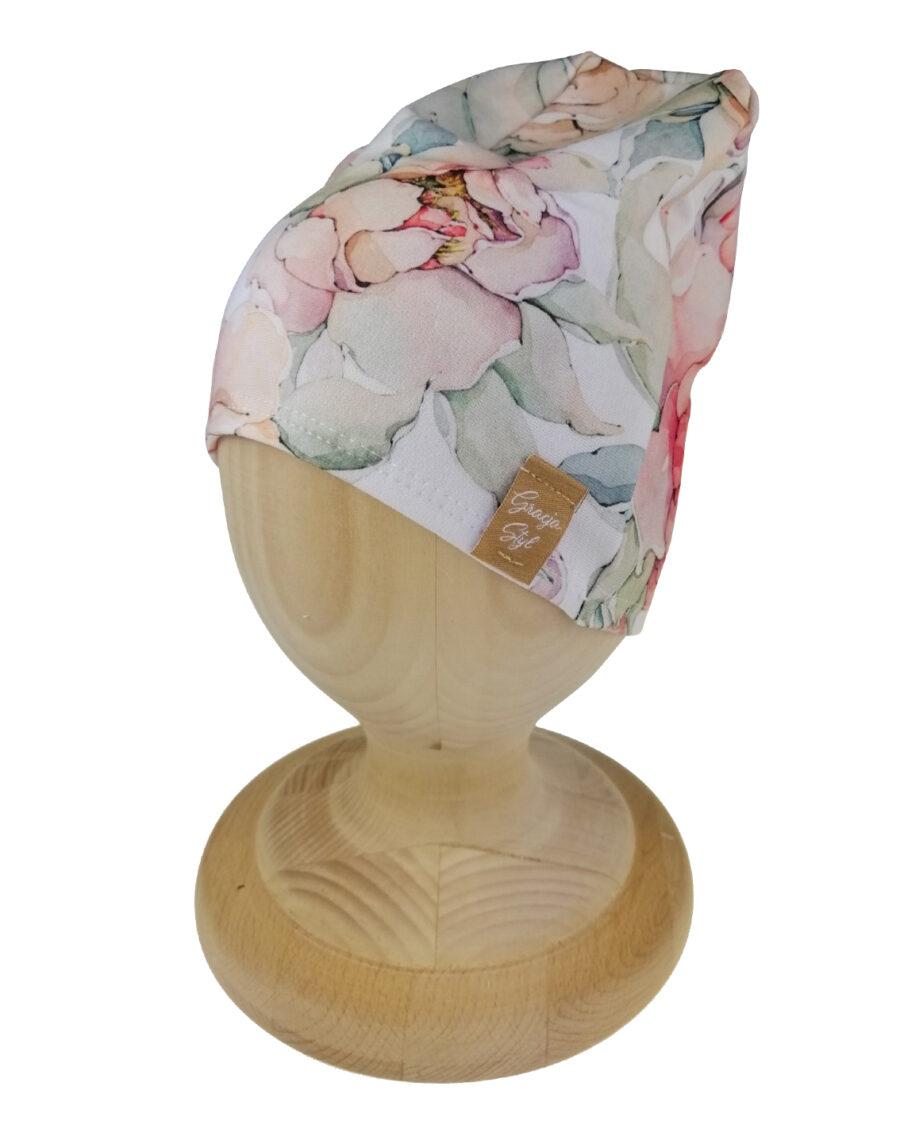 Czapka smerfetka wzór magnolia