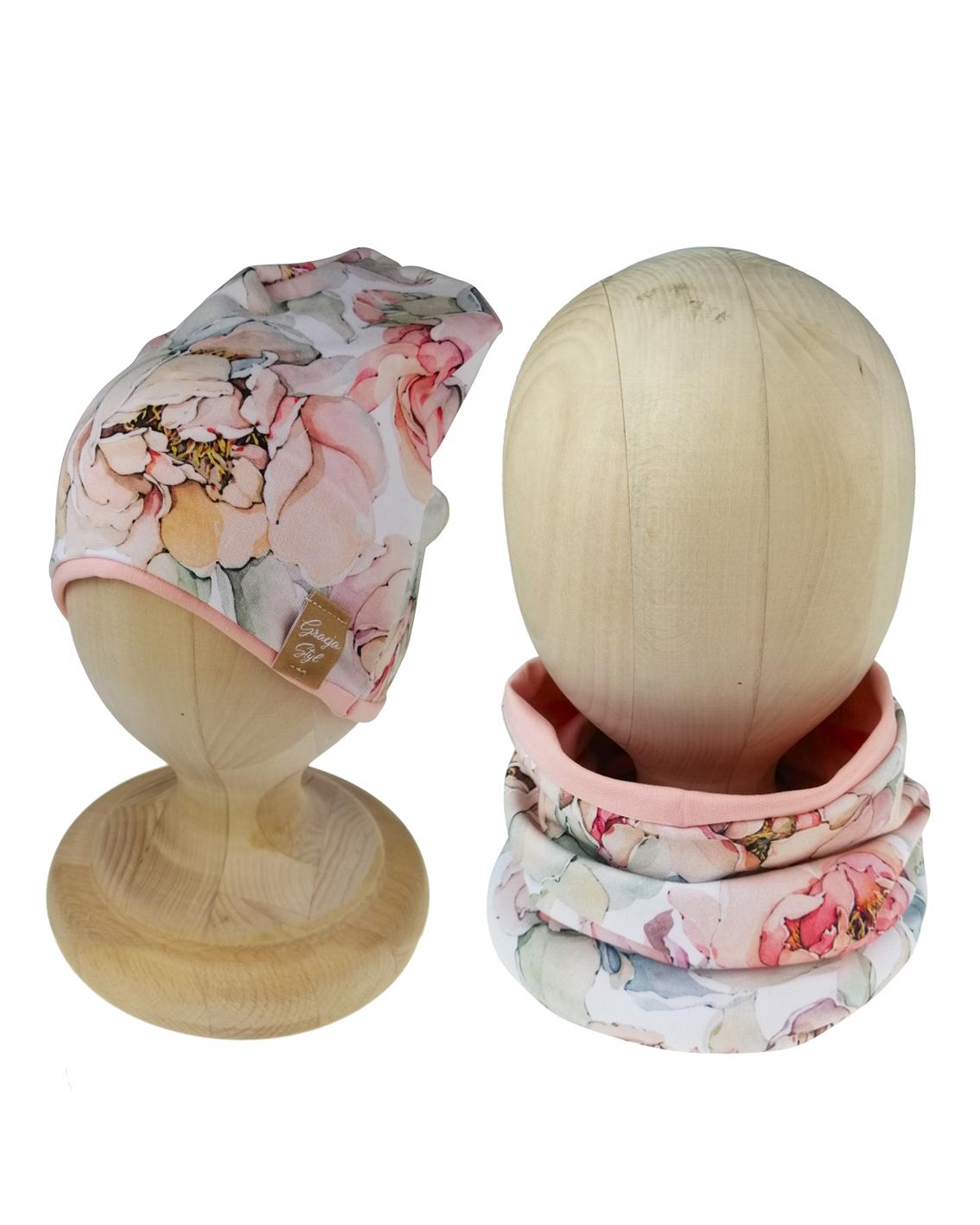 Zestaw czapka z kominem magnolia