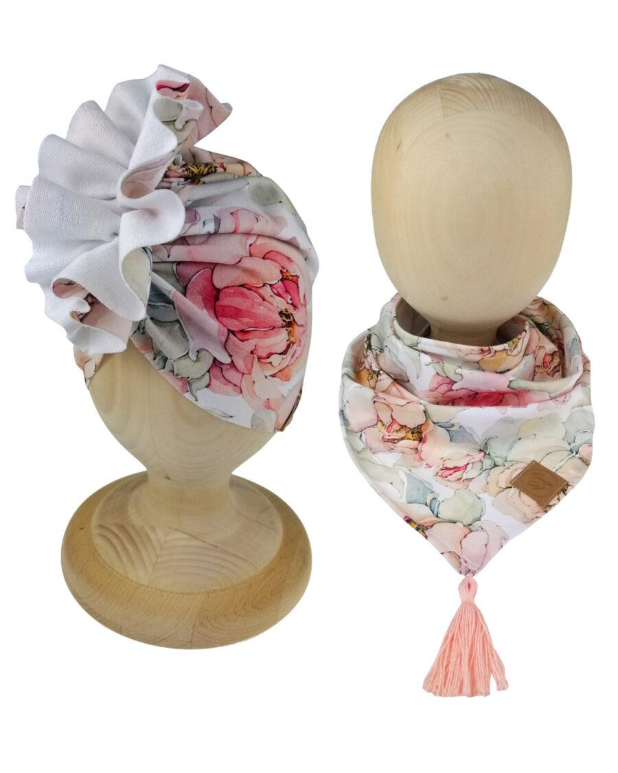 Zestaw turban z chustą wzór magnolia