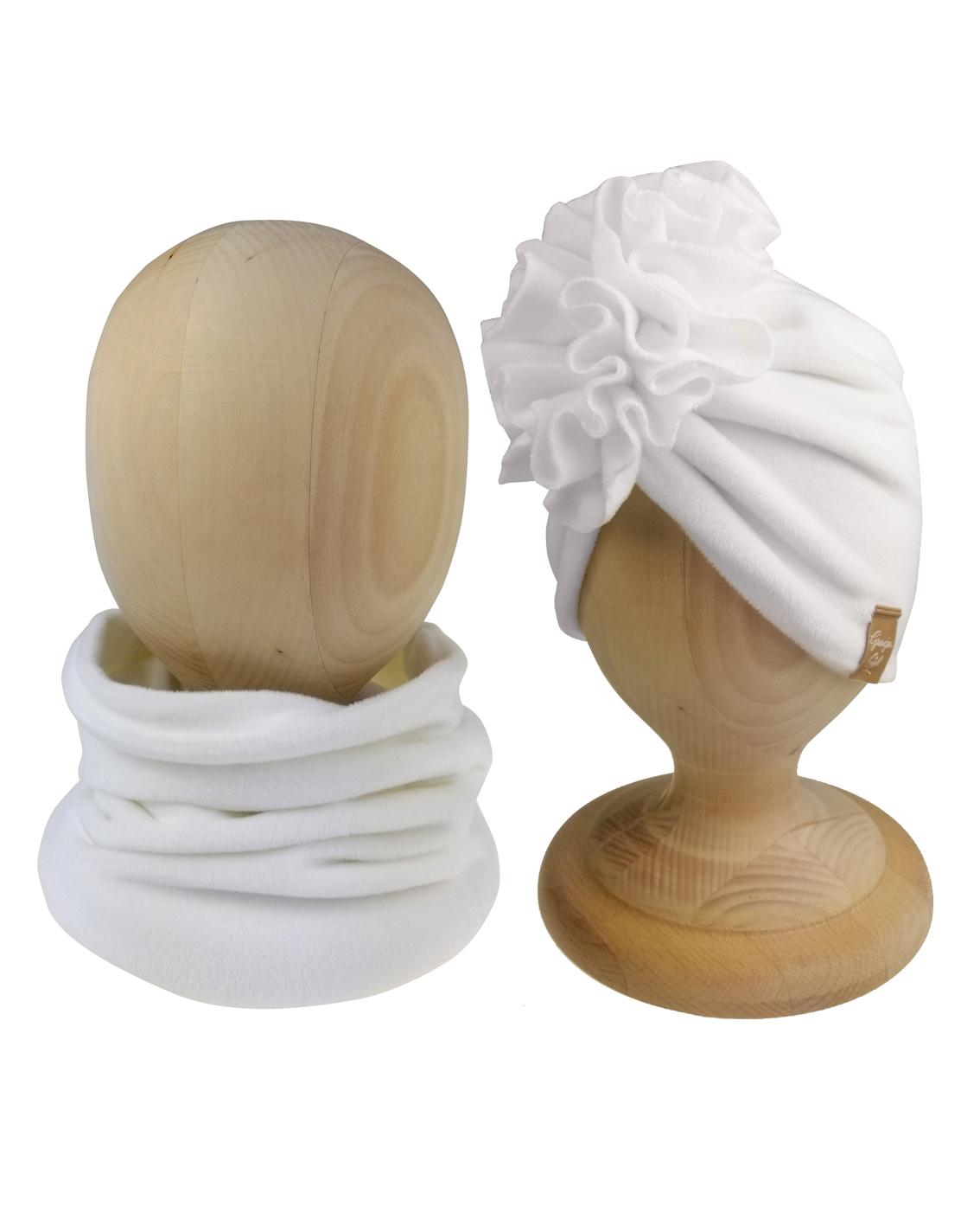 Turban+komin z weluru kolor biały