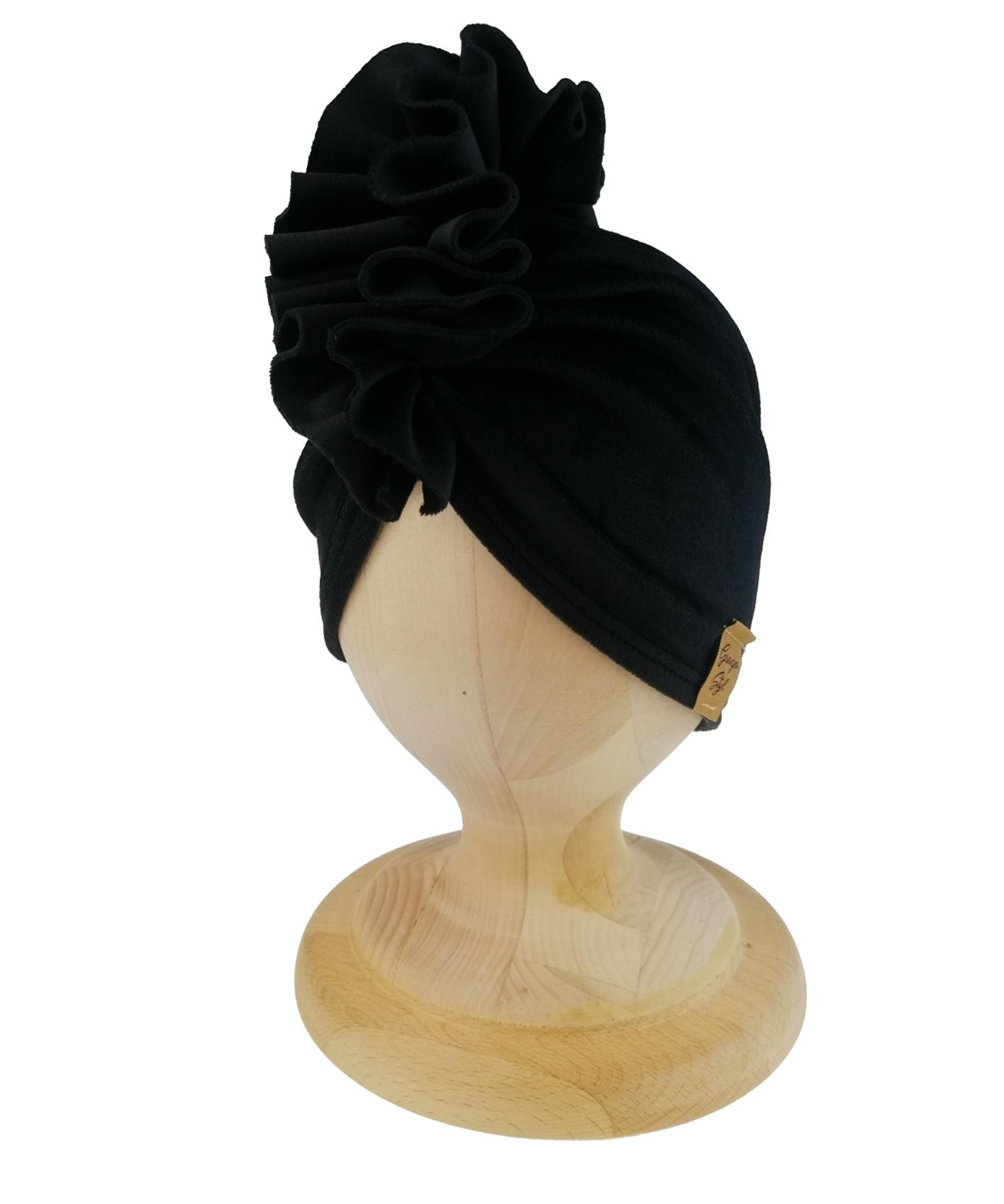 Turban welurowy w kolorze czarnym