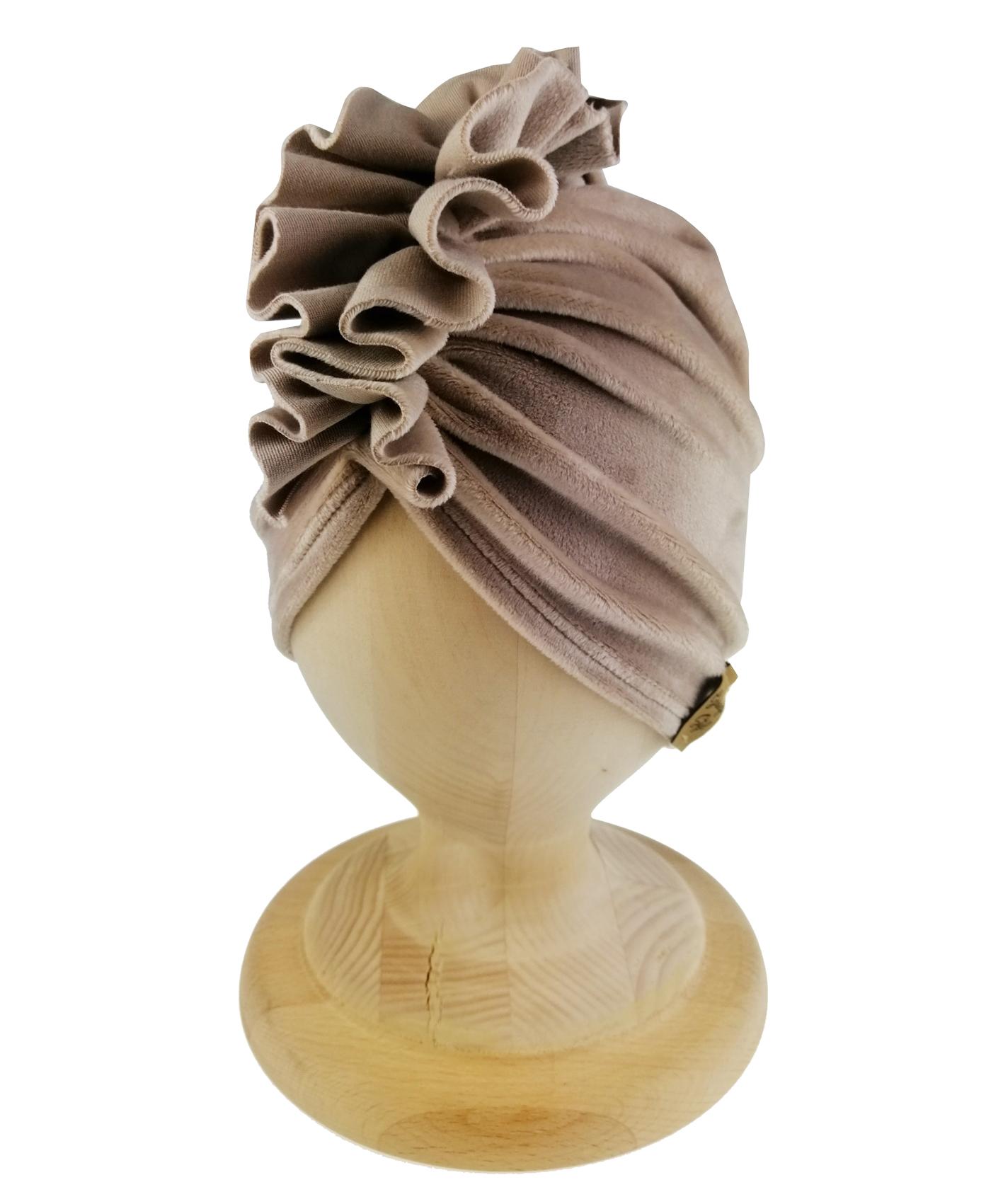 Turban welurowy w kolorze beżowy