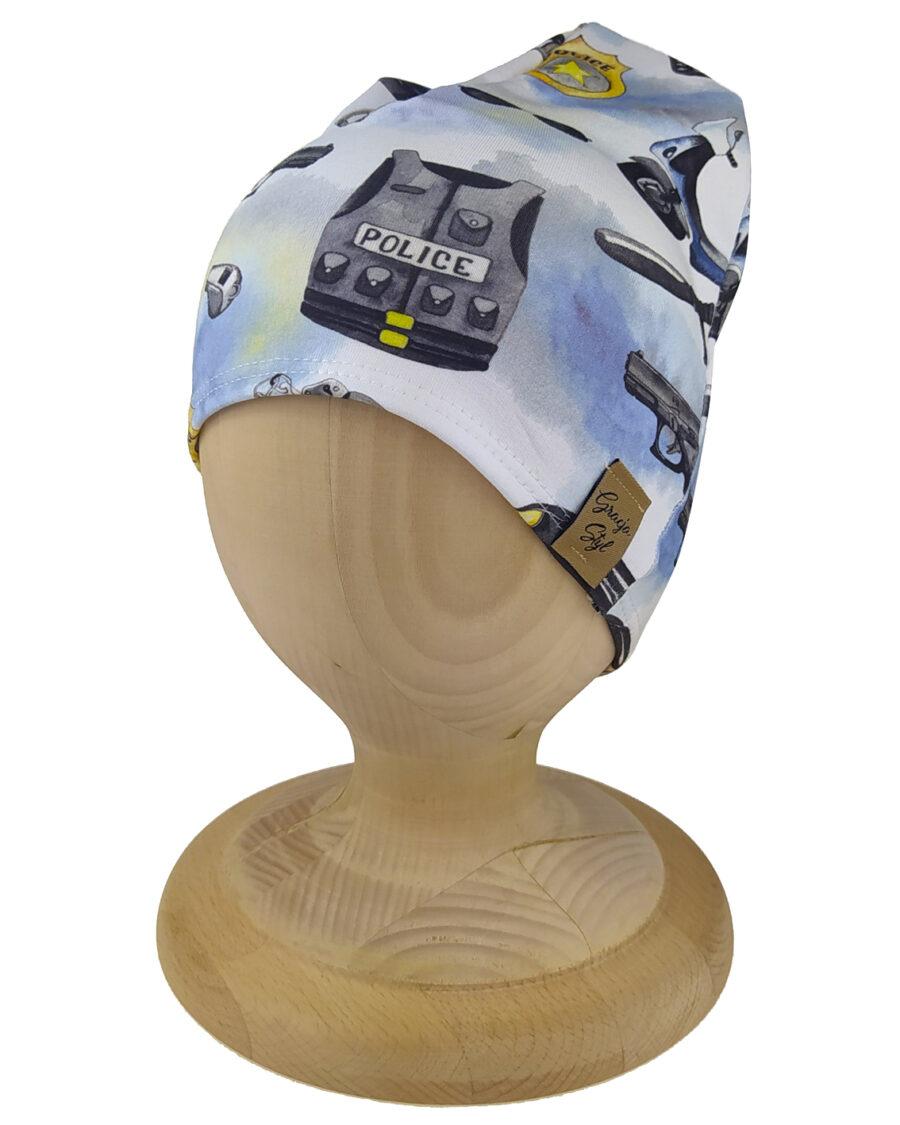 Czapka smerfetka dla chłopca. Uszta z bawełny pętelkowej typu dresówka. Marka Gracja Styl. Wzór policja.