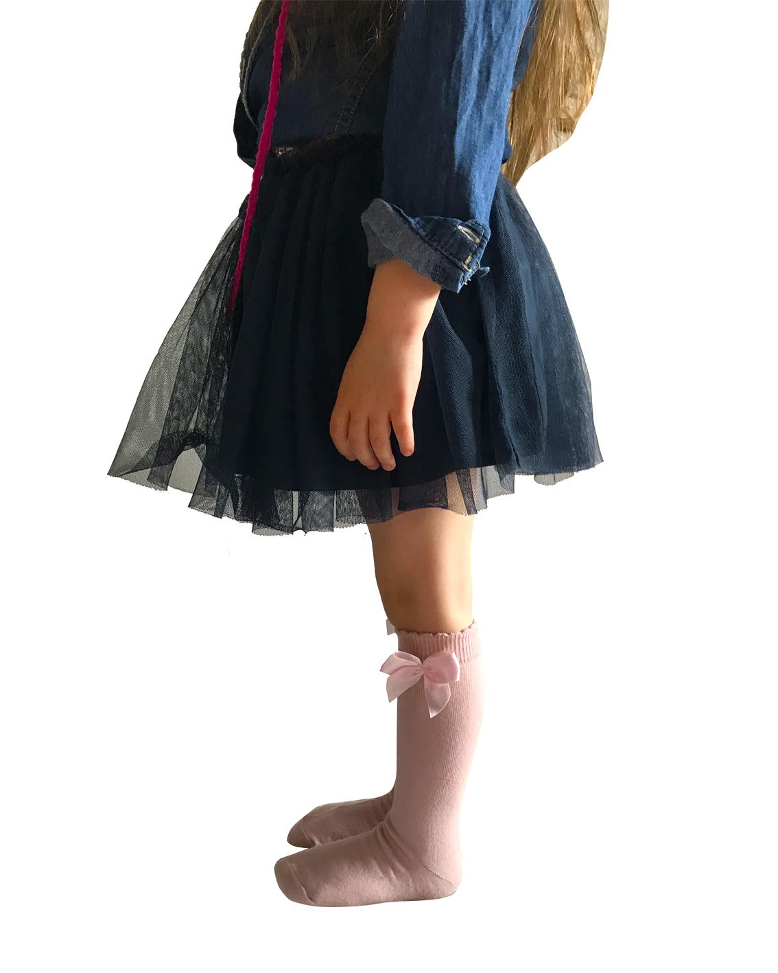 Podkolanówki dziecięce bawełniane firmy Milusie z kokardką kolor różowy.