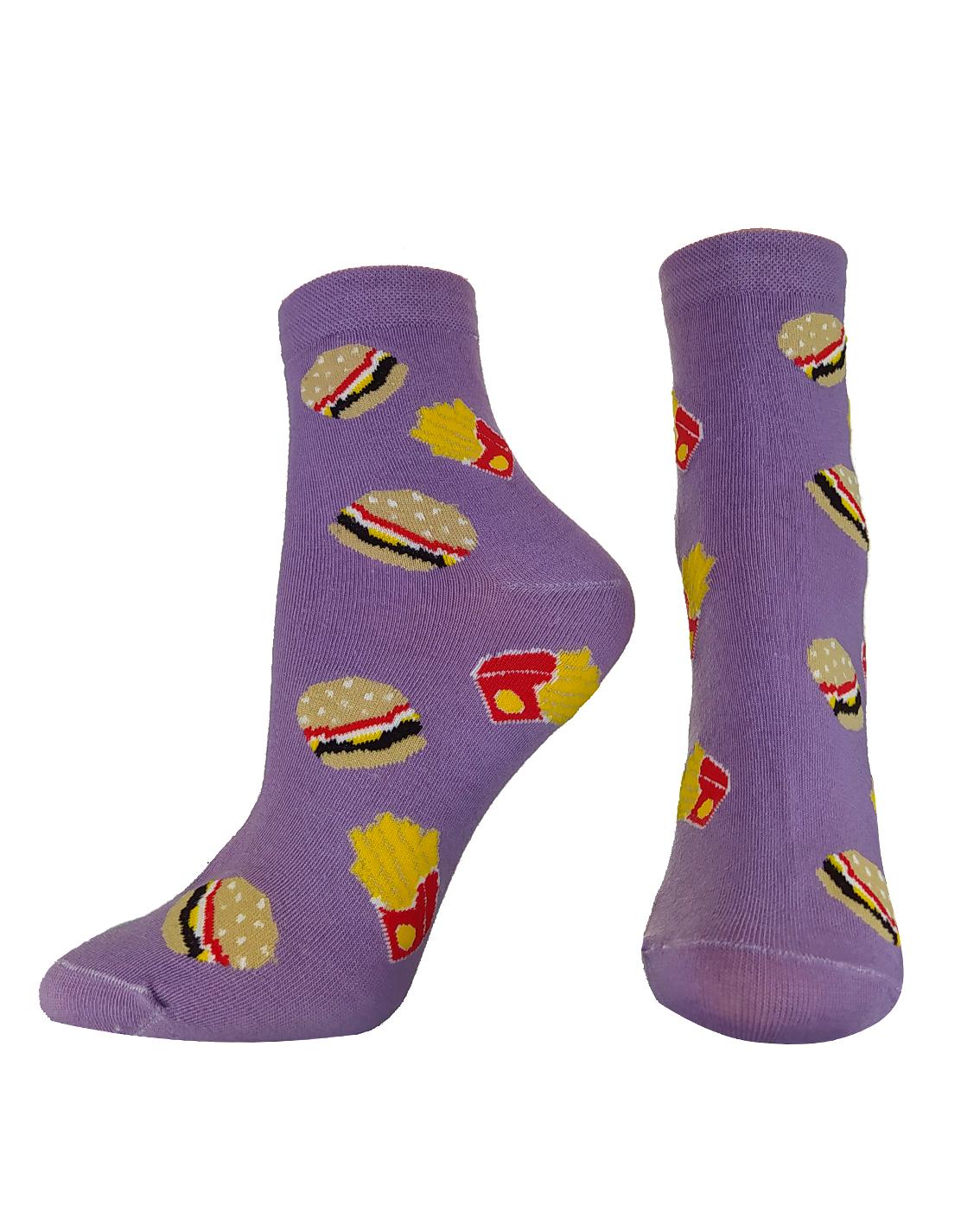 Damskie skarpetki bawełniane zakostkę we wzory fast food.