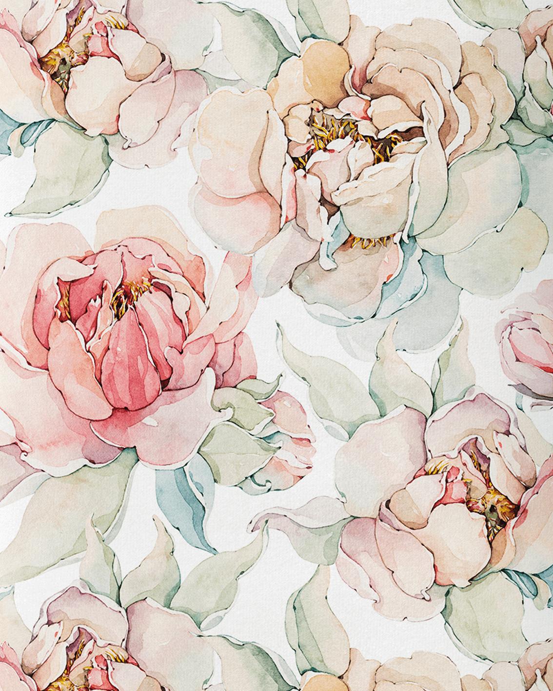Tkanina bawełniana typu dresówka gramatura 240 g. Wzór kwiatowy magnolia. Druk sublimacyjny.