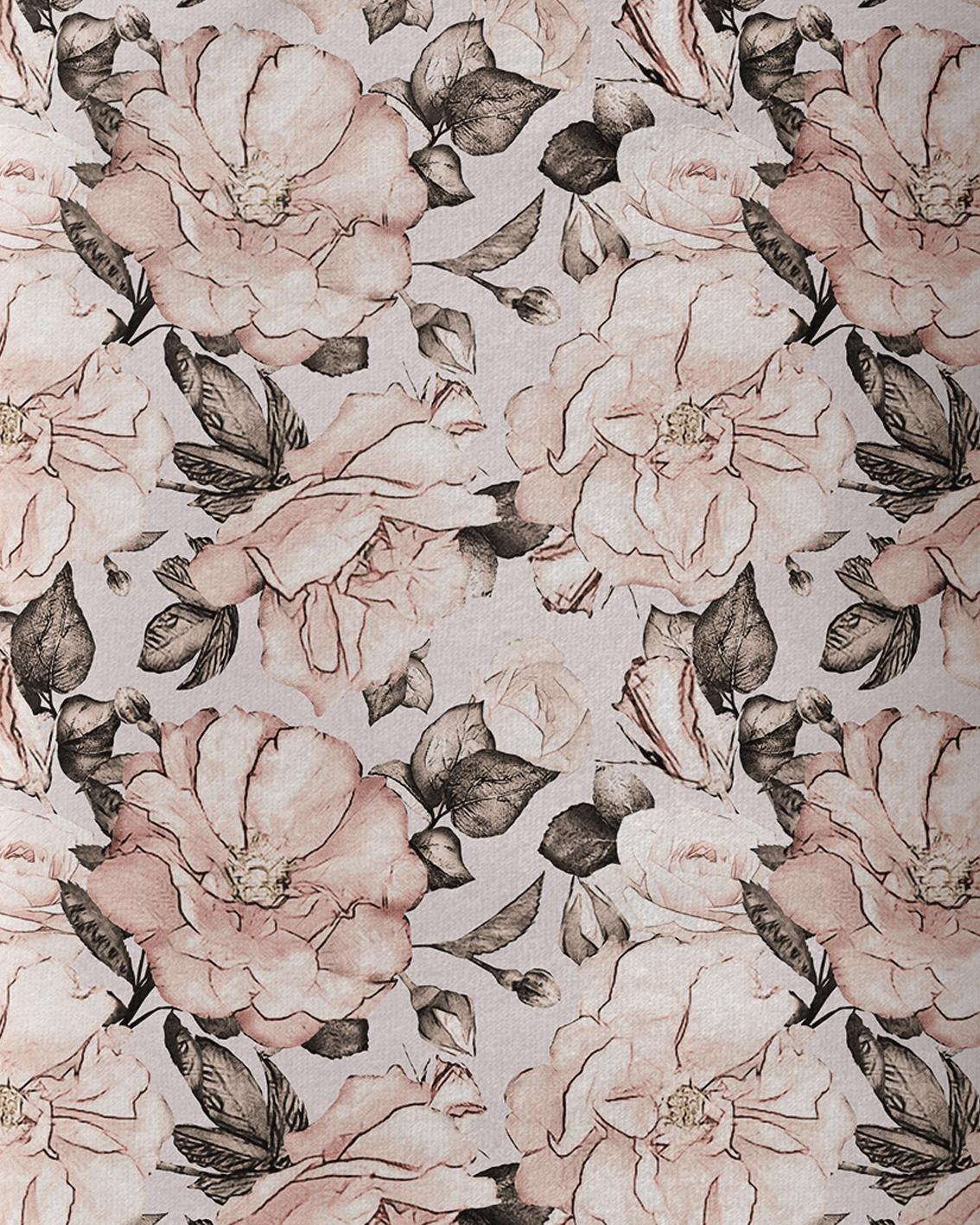 Tkanina bawełniana typu dresówka gramatura 240 g. Wzór kwiatowy petunia. Druk sublimacyjny.