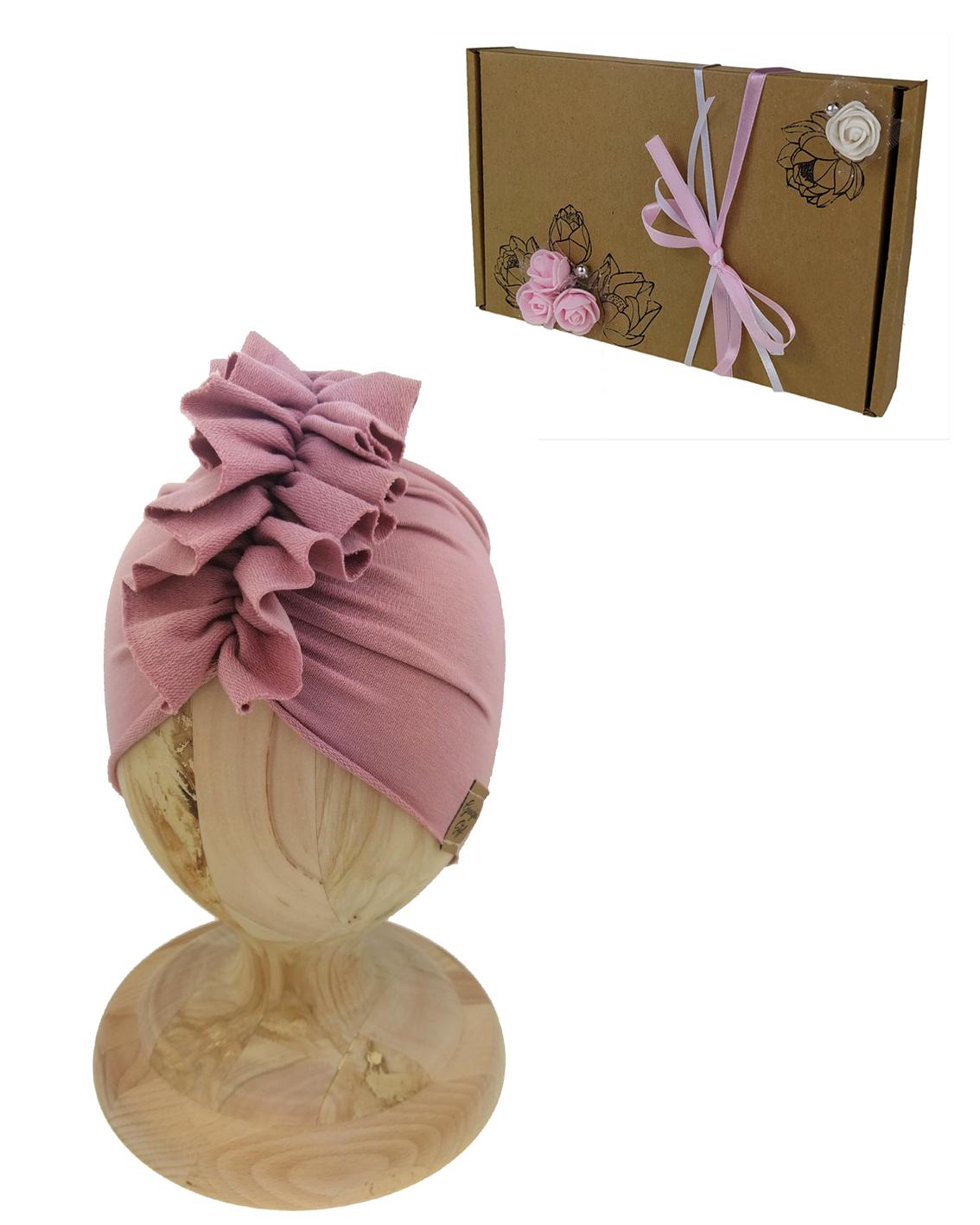 Turban puder róż na prezent w pieknym zapakowanym pudeleczku